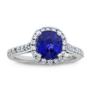 3.25 Ct prong set ceylon sapphire and diamonds Wed